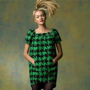 Marc By Marc Jacobs Green Black Houndstooth Dress